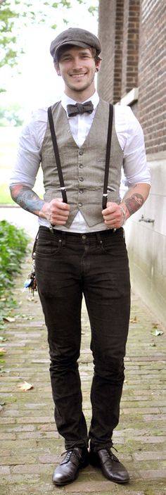 Not sure about the suspenders over the waistcoat but I like the jeans and shoes