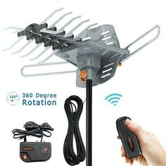 Vansky Outdoor 150 Mile Motorized 360 Degree Rotation OTA Amplified HD TV Antenna for 2 TVs Support - Channels Wireless Remote Control - Coax Cable Best Outdoor Tv Antenna, Digital Tv, Usb, Remote, Ebay, Diy Tv, Gadgets, Ham Radio, Computers