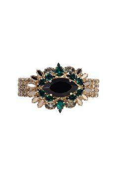 Brazalete de cristales verdes Swarovski de Anton Heunis