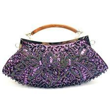 WOMEN LADY PURPLE BEADED FLOWER CLUTCH BAG EVENING BAG REMOVABLE CHAIN NEW 20929