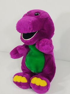 Vintage Barney the purple Dinosaur 12 inch stuffed plush animal Barney Costume, Barney Birthday, Grey Teddy Bear, Barney The Dinosaurs, Barney & Friends, Plush Animals, Vintage Toys, 1990s, Random Stuff
