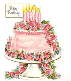 Vintage Birthday Card Pink Cake by PaperPrizes on Etsy Happy Birthday Images, Happy Birthday Cards, Birthday Greetings, Birthday Wishes, Birthday Clipart, Today Is My Birthday, It's Your Birthday, Pink Birthday, Cake Birthday