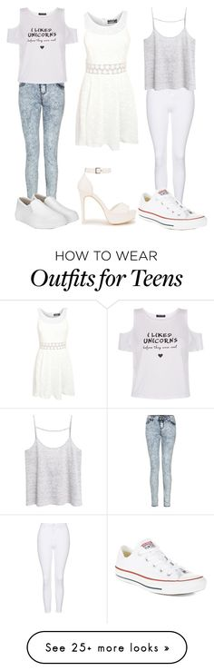 """""""White Outfits"""" by amylovesptx on Polyvore featuring New Look, Pilot, Nly Shoes, Topshop, MANGO and Converse"""