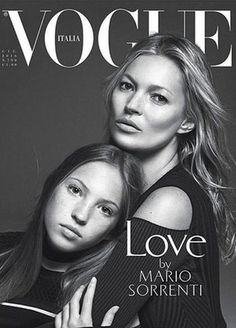 Kate Moss and daughter Lila Grace on the cover of Vogue Italia.