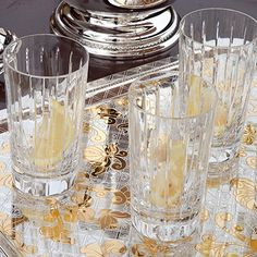 Typical for the collection Iriana are the vertical cut lines. Also available are whisky tumbler, hiball glasses, vodka glasses, a carafe, an ice bucket and. Wine Carafe, Crystal Glassware, Highball Glass, Champagne Glasses, Tree Branches, Flatware, Vodka, Art Pieces