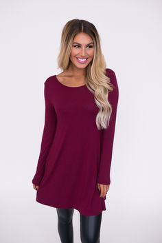 V Back Tunic- Burgundy - Dottie Couture Boutique