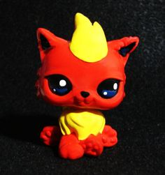 Littlest Pet Shop Flareon Pokemon Custom Figure LPS OOAK  #Hasbro