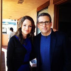 2day's guests #BurtWonderstone's @SteveCarell & #Nashville's Kimberly Williams-Paisley bkstage b4 showtime!