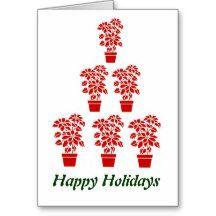 Poinsettia Tree Christmas Card