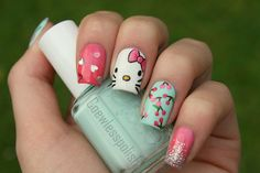 Silver Hearts, Glitter, Cherries and Hello Kitty Nails