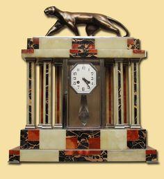 1920's Art Deco Japy Freres/Decoux Bronze Marble Clock