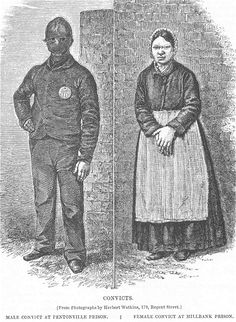 A stereotypical female convict at Millbank prison, by Herbert Watkins Prisoners were not even allowed to speak to one another and the masks kept each person indistinguishable from the next. (minus they're given number of course) Victorian Prison, Victorian Life, Victorian Fashion, Victorian Crime And Punishment, Pentonville Prison, Victorian Aprons, Prison Outfit, History Of Psychology, Pioneer Clothing
