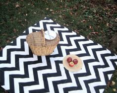 Picnic Blanket -Chevron Picnic Blanket- Black and White- Portable, Outdoors, Summe,r Food, Blanket - LAST 3