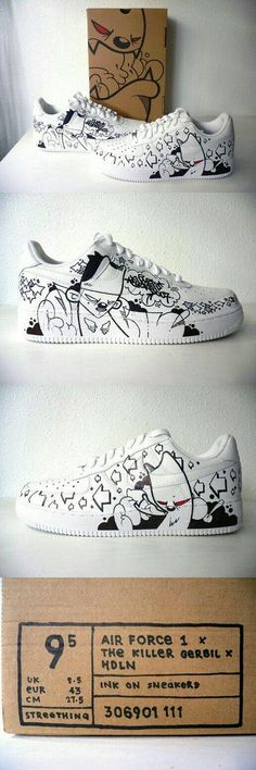 Air Force 1 Custom by thekillergerbil on DeviantArt Best Sneakers, Custom Sneakers, Custom Shoes, Sneakers Fashion, Fashion Shoes, Custom Af1, Crazy Shoes, Me Too Shoes, Nike Shoes Air Force
