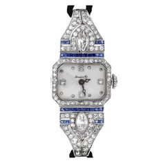 1stdibs.com | Lady's Platinum, Diamond and Sapphire Art Deco Wristwatch (Switzerland, circa 1920s)