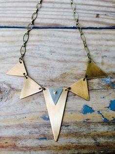 Gold Brass snd Silver Triangles Boho Metal Necklace by JupiterOak