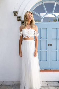White A-Line Tulle Destination Wedding Dresses with Off-the-Shoulder by  Lace Appliques - by OKDress UK 31c5231847