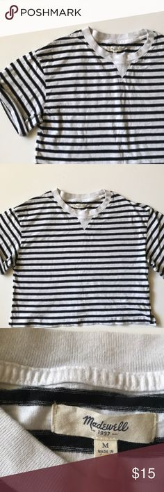 Striped crop madewell tee Good condition. Cropped style. I'm 5'2 and the bottom of the top hits right at my waist. Oversized fit Madewell Tops Crop Tops