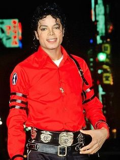 Michael Jackson wearing his favorite colors red and black