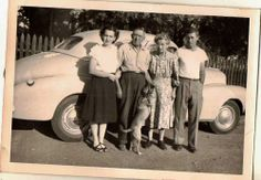 Vintage Antique Photograph Group of People & Dog Standing by Antique Car Auto