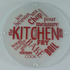 Round glass cutting board, trivet Kitchen sayings cutting board by SandyToeshomedecor on Etsy