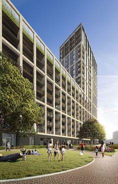 Ruskin Square Modern Architecture, Facade, Dolores Park, Multi Story Building, Urban, House, 3d, Ideas, Roman