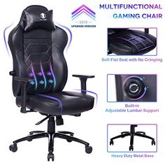 KILLABEE Gaming Chair Racing Office Chair - Adjustable Built-in Lumbar Support and Back Angle Ergonomic High-Back Leather Computer Desk Executive Swivel Chair with Wide Flat Seat and Metal Base, Black- Rajat Prakash- Cheap Office Chairs, Home Office Chairs, Gaming Room Setup, Gaming Chair, Reading Nook Chair, Queen Memory Foam Mattress, Farmhouse Dining Chairs, Plastic Adirondack Chairs, Game Room Design