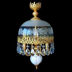 Vintage French Art-Nouveau/Deco Gold/Porcelain Large Crystal Teardrop Chandelier #French