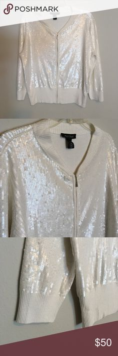 Sequin Embellished Cardigan Bomber Sweater Jacket Hand-stitched sequins make this bomber styled sweater is one unique piece you need now. This must-have is brilliant with just about anything...from festive holiday parties to a night out in over the top heels you'll get noticed. Mother of pearl tones with a solid cream base. White House Black Market Sweaters Cardigans