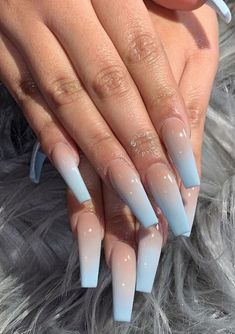 Ombre nails, ombre acrylic nails, glitter nails, almond nails, spring n Aycrlic Nails, Cute Nails, Pretty Nails, Kylie Nails, Smart Nails, Blue Ombre Nails, Blue Coffin Nails, Acrylic Nails Coffin Ombre, Acrylic Nails With Glitter