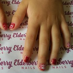 Grace's #hellokitty inspired nails - a treat for being so good! #cnd #vinylux in #rougered with #red #glitter and #stamping ❤ #lovemyjob #lovecnd #cndvinylux #nailart #nailstamping #rockstarnails #pamperparty #princessparty #cardiffnails #cardiff #mobilenails#elderberrynails