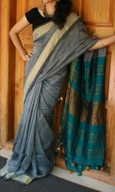 Linen sarees Blouse colour same as pallu shade.. Price:2550 Order what's app 7995736811