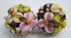 Sweet Flower Patch Handmade Lampwork Floral Bead Set by TLBeads, $17.00
