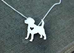 Beagle hound dog necklace sterling silver, tiny silver hand cut dog pendant with heart,