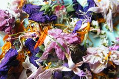 Dried flowers used in the photo shoot in my garden about potpourri making via driedflowercraft.co.uk