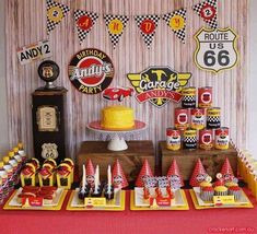 Retro Race Car Birthday {Boy Party Ideas} - Spaceships and Laser Beams Hot Wheels Party, Race Party, Birthday Party Desserts, Cars Birthday Parties, Birthday Ideas, Auto Party, Vintage Car Party, Vintage Candy, Vintage Carnival