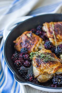 Our recipe for Pan-Roasted Chicken Thighs with Blackberries & Thyme uses frozen Oregon blackberries and aromatic herbs for ultimate flavor. Roast Chicken Zucchini, Pan Roasted Chicken Thighs, Grilled Zucchini, Blackberry Recipes Savory, Raspberry Recipes, Raspberry Chicken, Blueberry Chicken, Chicken Recipes, Chicken Meals