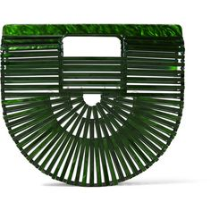 Cult Gaia Ark mini acrylic clutch ($275) ❤ liked on Polyvore featuring bags, handbags, clutches, mini handbags, acrylic purse, miniature purse, acrylic clutches and green handbags