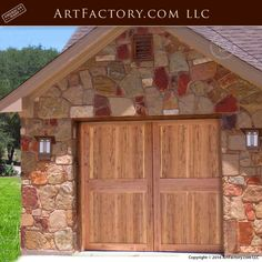 """World Class Fine Art By H.J. Nick, Master Handcrafted In The U.S.A. Using Natural Timber That Has Been Desert Aged And Cured Built Using The Old World Techniques Of Mortise, Tenon, Peg, And Dowel Construction, Built To Last Forever """"We Guarantee It"""" Cedar Garage Door, Custom Garage Doors, Carriage Garage Doors, Custom Garages, Barn Doors, Door Design, House Design, Roll Up Doors, Craftsman"""