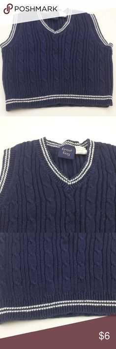 """boys great guy 2T blue white sweater vest L45 boys great guy 2T blue white sweater vest L45 Size: 2T Color:  white and blue   Material: 55% ramie 45% cotton Armpit to Armpit:  13"""" Top of Shoulder to Bottom: 13"""" *Measurements are approximate Color may differ slightly than pictured!  Everything is in Excellent used condition, unless stated otherwise. Feel free to comment with any questions you may have! Thanks for looking, and feel free to check out my other listings!! great guy Shirts & Tops"""