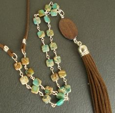 Items similar to Long Boho Tassel Necklace with Turquoise Snakeskin Jasper Stones and Brown Faux Leather, Unique OOAK Southwestern Layering Summer Jewelry on Etsy Jewelry Ideas, Diy Jewelry, Jewlery, Jewelry Necklaces, Jewelry Design, Leather Necklace, Leather Jewelry, Tassel Jewelry, Tassel Necklace