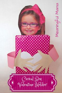 valentine holder cereal box using child's picture