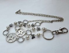 id badge beaded lanyard - silver beads, steampunk cogs, butterflies, silver chain - glasses chain holder, key ring