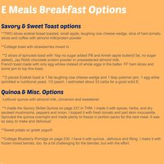 Savory & Sweet Toast options / Quinoa and more #THM #Emeals #breakfast