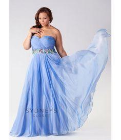 73f41114c02a Sydney's Closet 2014 Prom: Blue Mist Attention Please Chiffon Plus Size  Gown - Unique Vintage