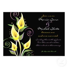 Calla Lily Wedding Invitation Invite Flower Yellow  #timelesstreasure