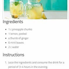 https://www.instagram.com/p/BEZtlW_w1B8/  INTERESTING READ!!!!! Pineapple-lemon duo melts the excess fat accumulated in the stomach area. Being rich in antioxidants and enzymes them trigger the fat burning process and improve the way you look by helping you get flatter and firmer stomach.  Ginger-mint combination is excellent choice to keep the metabolism in top shape. It enhances all digestive processes, reduces bloating, burns calories and contributes to losing belly fat.  It is of utmost…
