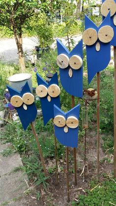 Yard Art Crafts, Bird Crafts, Nature Crafts, Crafts To Do, Wood Block Crafts, Wooden Crafts, Recycled Crafts, Diy Wood Projects, Deco Champetre