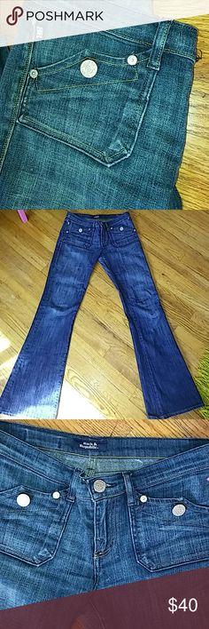 "New Rock & Republic jeans New Rock & Republic dark wash jeans; nwot; size 28 ( us 6 I believe); 98% cotton 2% elastine; lenght 39"" inseam 30"" Rock & Republic Jeans Flare & Wide Leg"