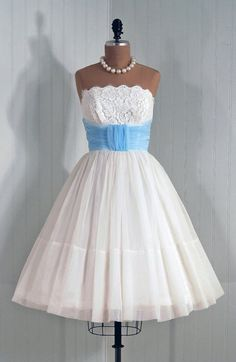 1950's Vintage Angelic Crisp-White Strapless Shelf-Bust Lace and Chiffon Couture Baby-Blue Cummerbund Rockabilly Bombshell Circle-Skirt Wedding Party Prom Cocktail Dress